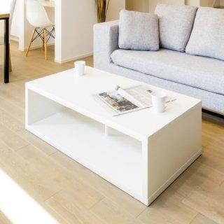 テーブル コーヒーテーブル 幅110cm 収納 白 シンプル SQUEDA(スケーダ)