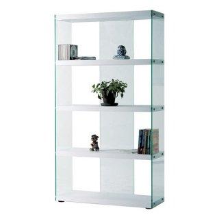 グラスシェルフ 強化ガラス ホワイト 白 幅83cm 奥行31.5cm 高さ149cm