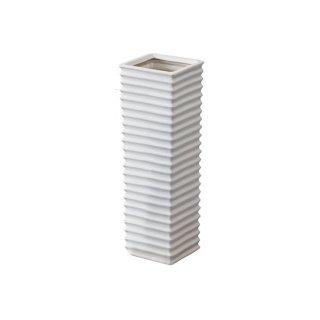 フロット 傘立て 陶器 波 ホワイト 白 幅15cm 奥行15cm 高さ45cm