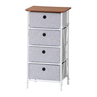 簡単組立チェスト4D 収納 収納BOX グレー ホワイト 白 幅40cm 奥行32cm 高さ76cm