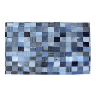 ラグ マット インテリア 雑貨 白 青 ホワイト ブルー ネイビー チェック モザイク デニム 縦170cm 横230cm