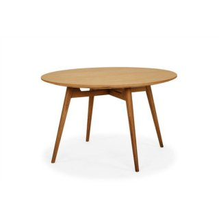 無垢材ダイニングテーブル タモ材 丸テーブル カフェテーブル ミディアムブラウン 直径120cm 北欧風 ACE(エース)テーブル