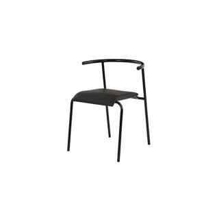 ダイニングチェア ソフトレザー スチール ブラック 黒 カフェ 飲食店 スタッキング edel chair(エーデルチェア)