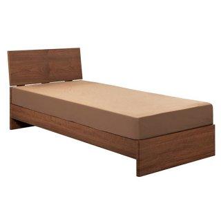 シングルベッド 茶 ウォールナット 木製 高級感 2段階 幅97cm 送料無料 LAFATA(ラファータ)ブラウン シンプル SINGLE BED   マット付き