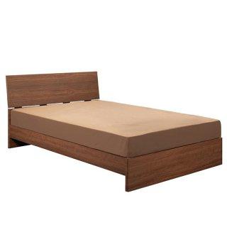 ダブルベッド 茶 ウォールナット 木製 高級感 2段階 幅140cm 送料無料 LAFATA(ラファータ)ブラウン シンプル DOUBLE BED   マット付き