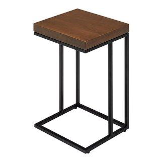 サイドテーブル 茶 ウォールナット 木製 高級感 シンプル 鏡面塗装 木目 幅35cm   送料無料 FONTE(フォンテ)ブラウン
