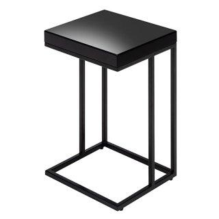 サイドテーブル ブラック 黒 高級感 シンプル 鏡面塗装 木目 幅35cm   送料無料 FONTE(フォンテ)