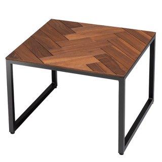 サイドテーブル ウォールナット ブラウン 茶 ヘリンボーン 無垢材 スクエア シンプル オイル仕上げ 高級感 矢羽 幅50cm   送料無料 VERVE(ヴァーヴ)