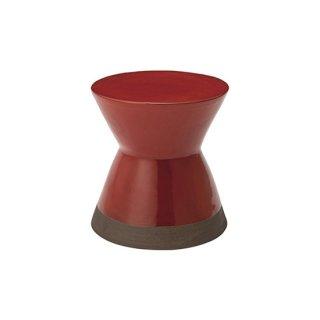 スツール オブジェ インテリア 陶器 レッド 赤 直径30cm 高さ31cm