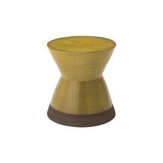 スツール オブジェ インテリア 陶器 イエロー 黄 直径30cm 高さ31cm