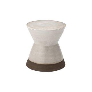 スツール オブジェ インテリア 陶器 ホワイト 白 直径30cm 高さ31cm