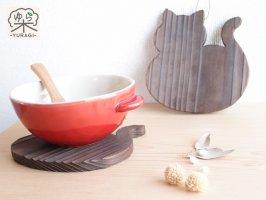 YURAGI『まんまるネコ』鍋敷き Sサイズ      焼き仕上げ