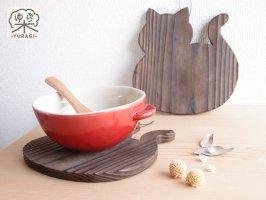 YURAGI『まんまるネコ』鍋敷き Lサイズ      焼き仕上げ