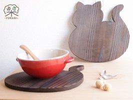 YURAGI『まんまるネコ』鍋敷き XLサイズ    焼き仕上げ