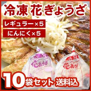 花ぎょうざ(レギュラー×5、にんにく×5) 10袋セット クール便送料込 冷凍餃子 ※1袋22個入