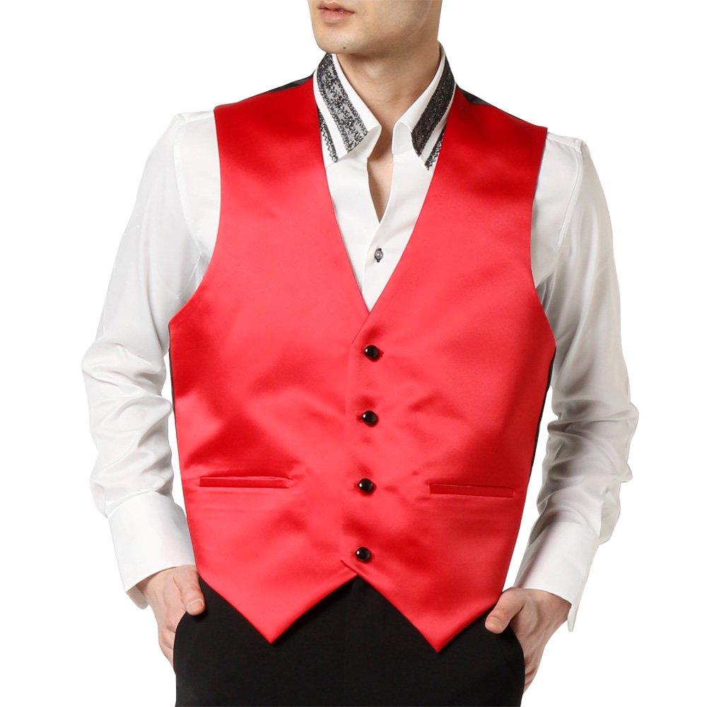 サテン 4つボタン ベスト ジレ 男女兼用 衣装|カラー:レッド