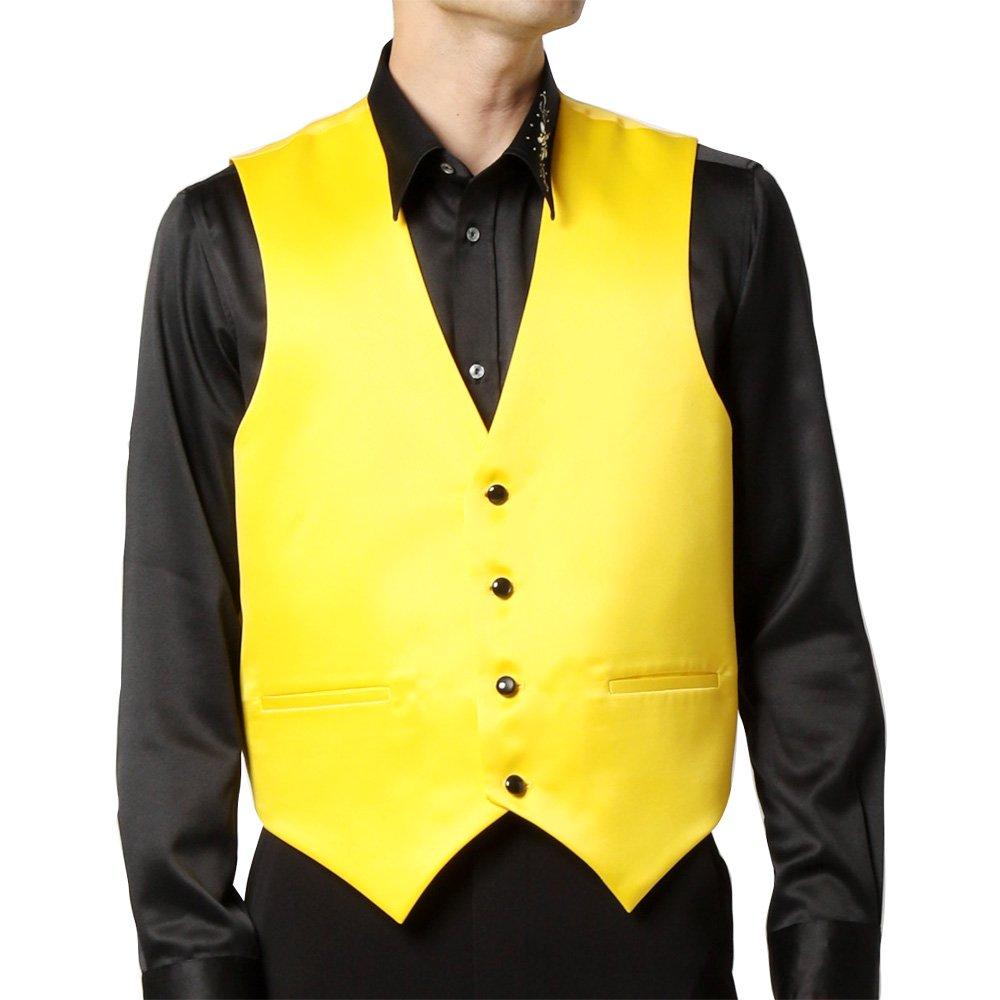 サテン 4つボタン ベスト ジレ 男女兼用 衣装|カラー:イエロー