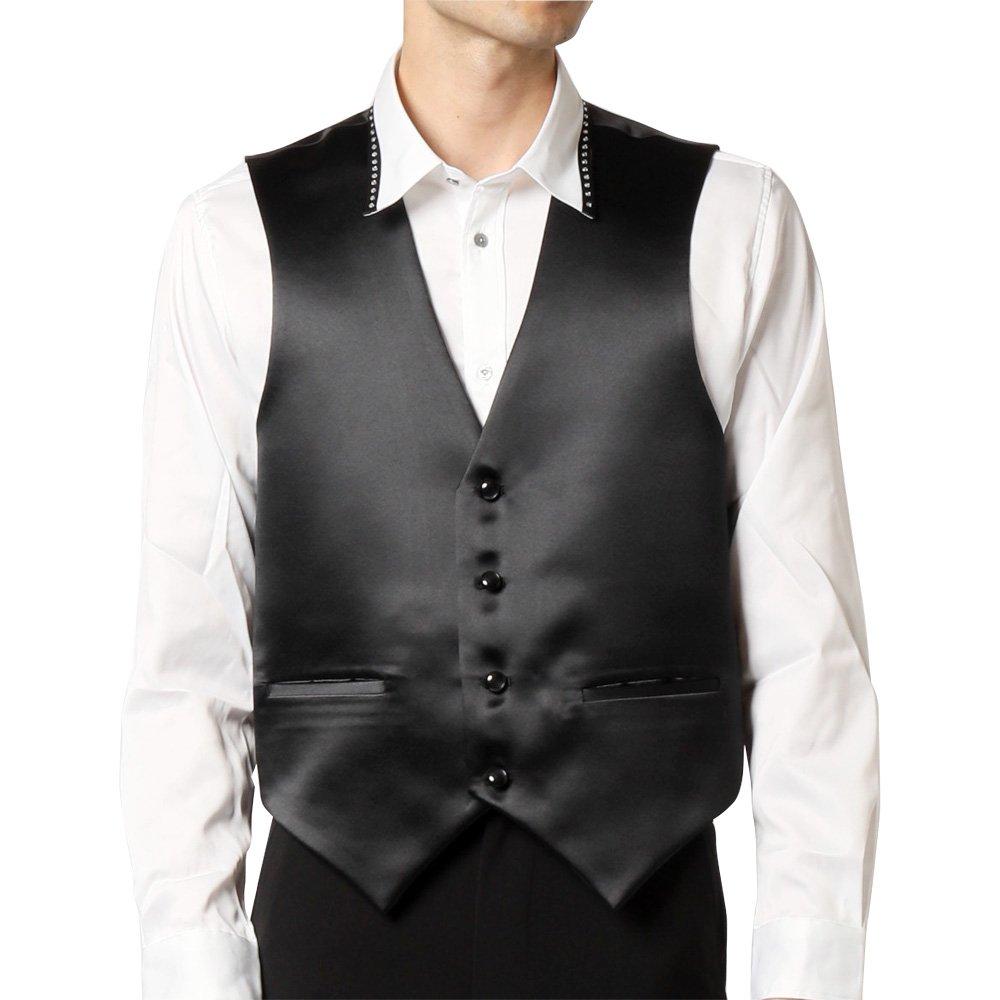 サテン 4つボタン ベスト ジレ 男女兼用 衣装|カラー:ブラック