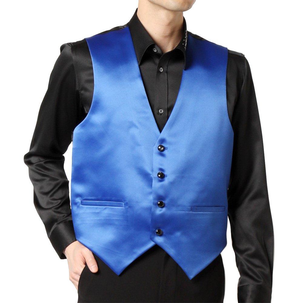 サテン 4つボタン ベスト ジレ 男女兼用 衣装|カラー:ブルー