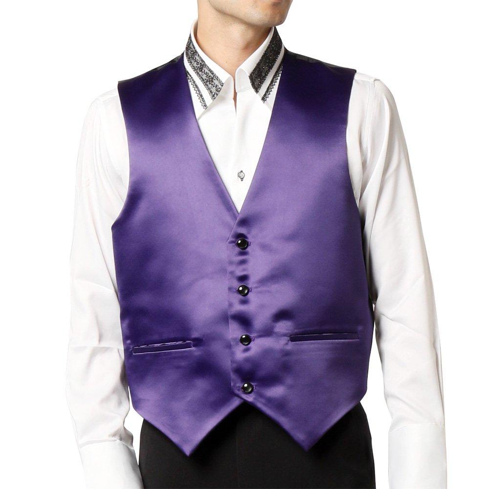 サテン 4つボタン ベスト ジレ 男女兼用 衣装|カラー:パープル