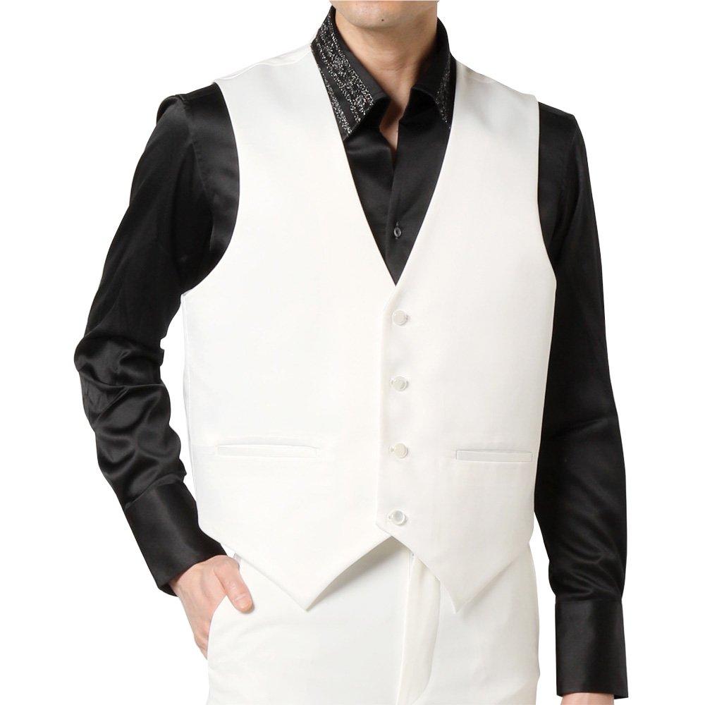 サテン 4つボタン ベスト ジレ 男女兼用 衣装|カラー:ホワイト