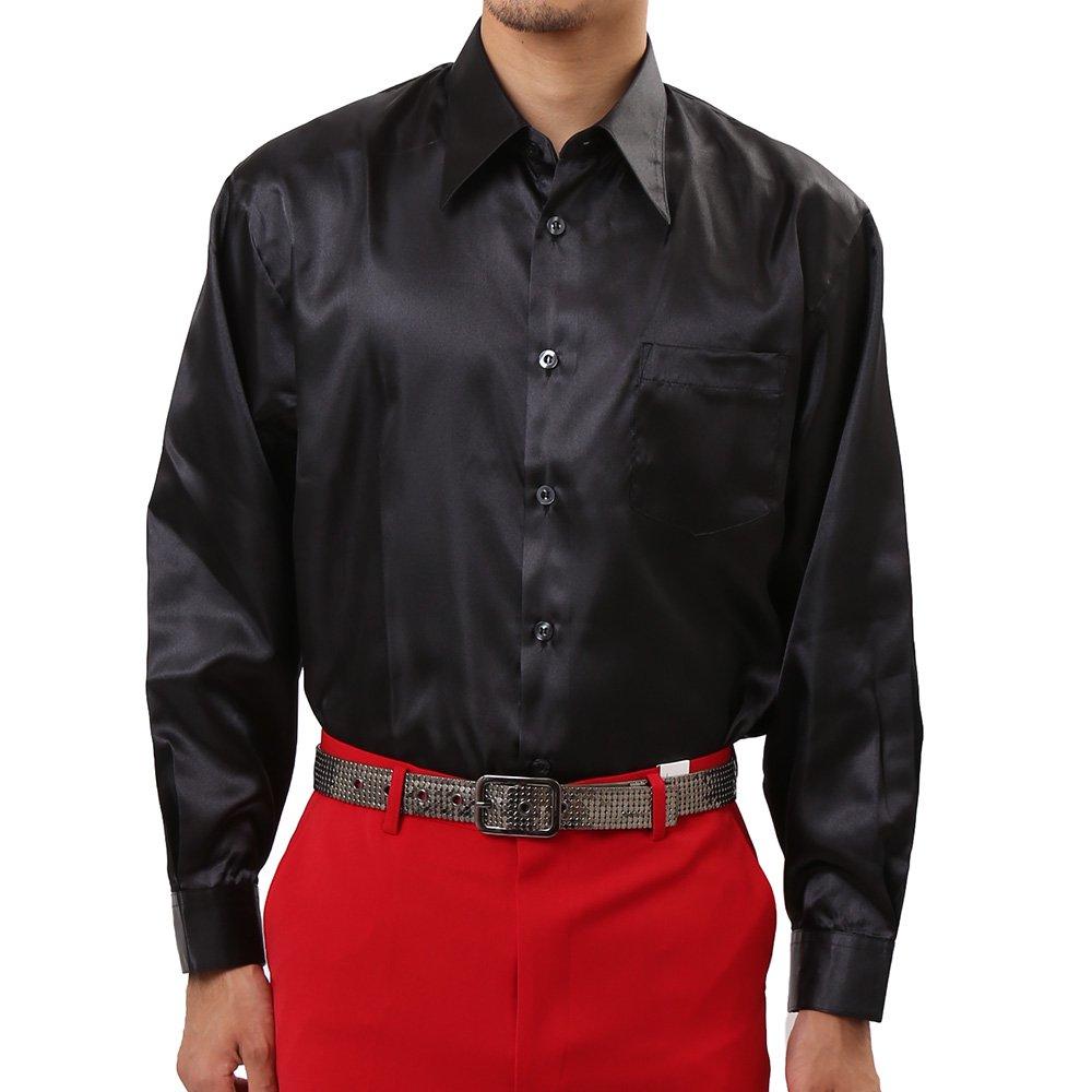メンズ サテン 長袖 ドレスシャツ カラー:ブラック