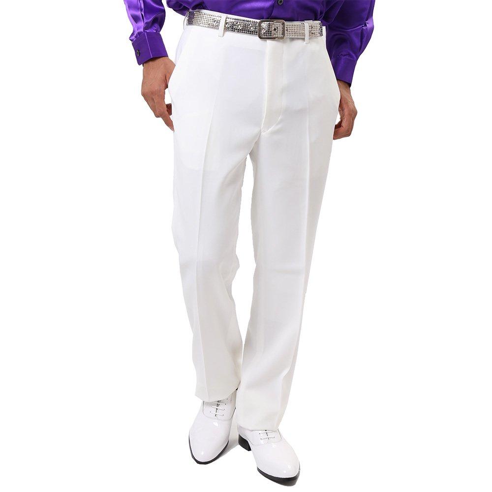 メンズ ノータック スラックス カラー:ホワイト