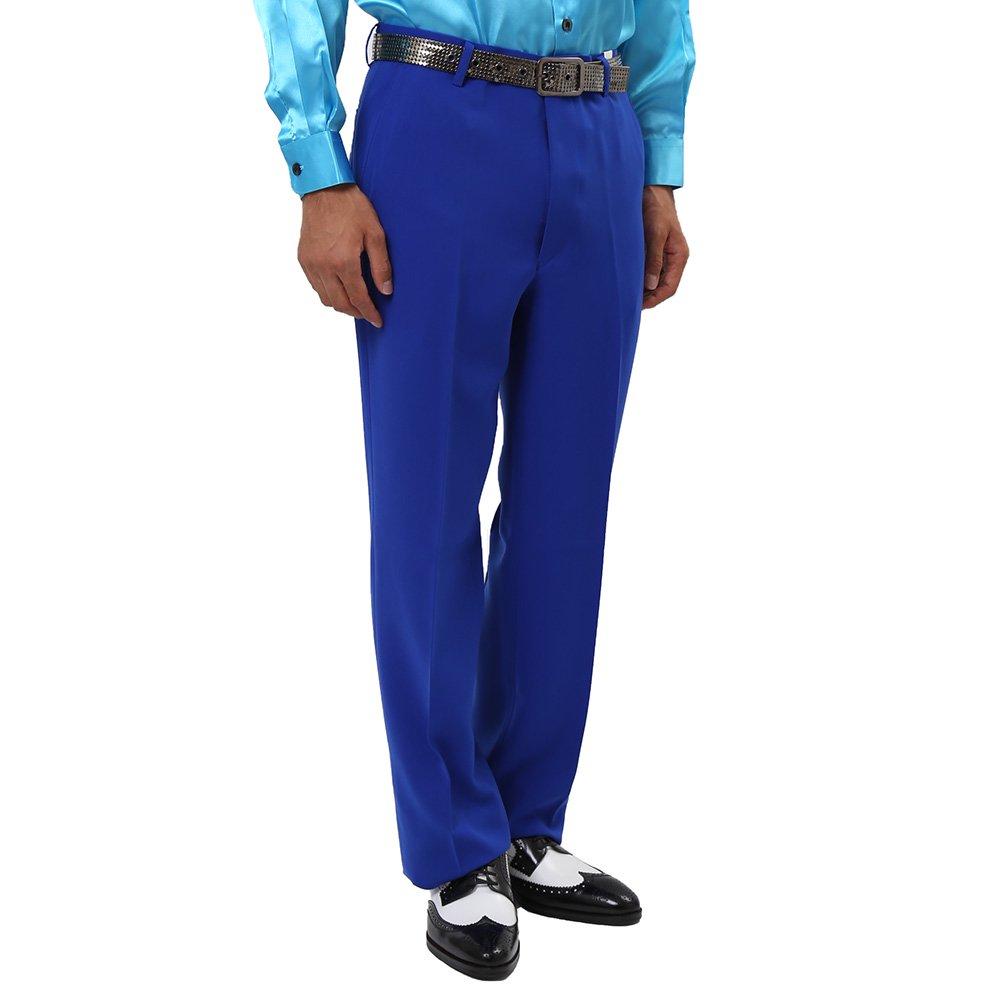 メンズ ノータック スラックス カラー:ブルー