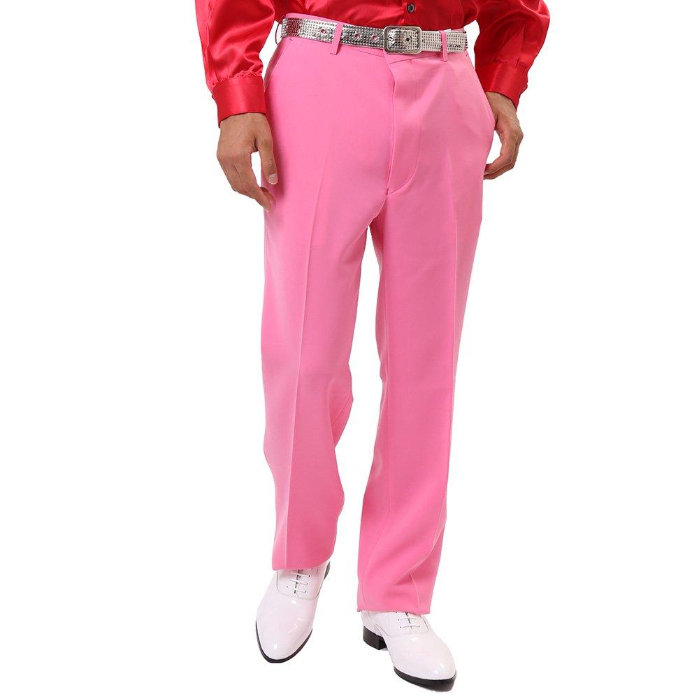 メンズ ノータック スラックス カラー:ピンク
