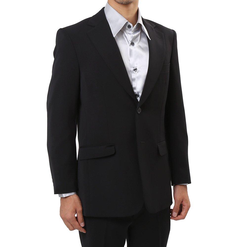 メンズ 2つボタン カラー スーツ 上下セット カラー:ブラック
