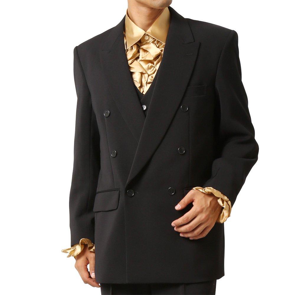 メンズ 6つボタン ダブル カラー スーツ ツータックパンツ 上下セット カラー:ブラック