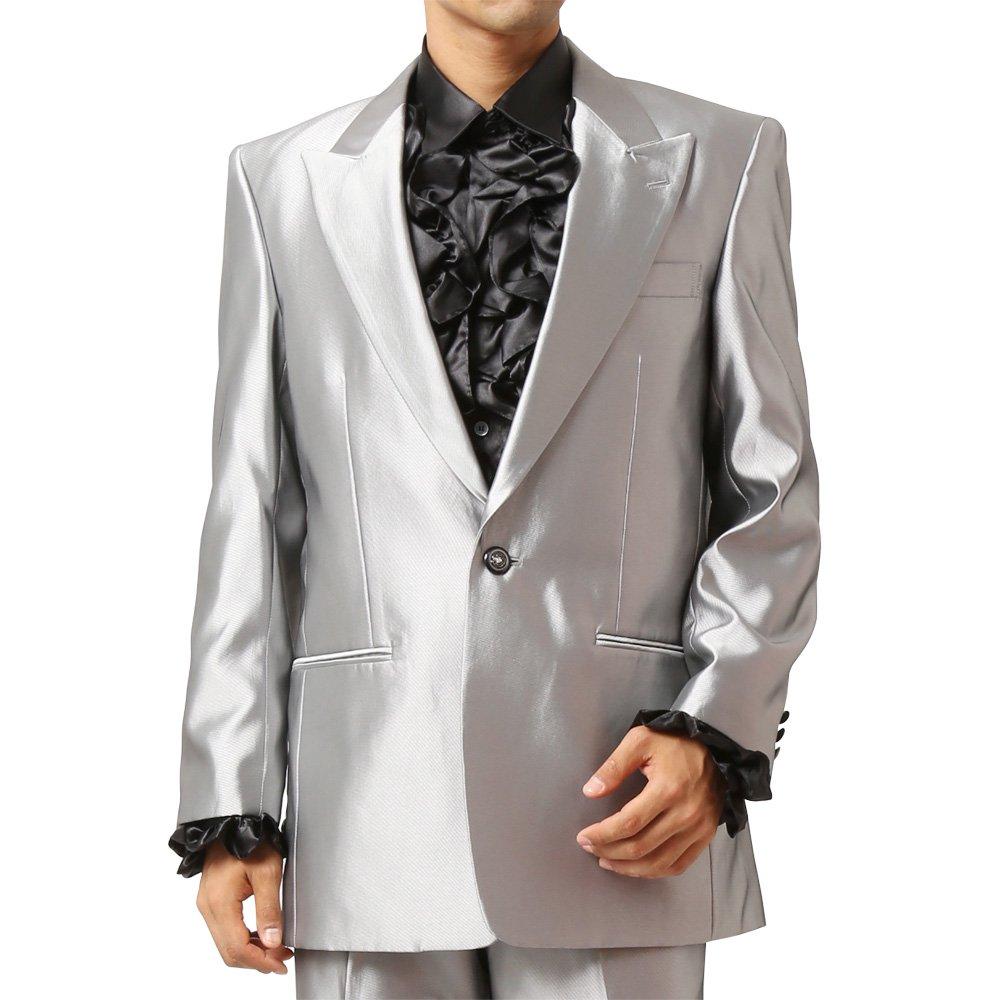 メンズ 1つボタン ピークドラペル シャイニージャケット ワンタック スラックス 上下セット スーツ:シルバー