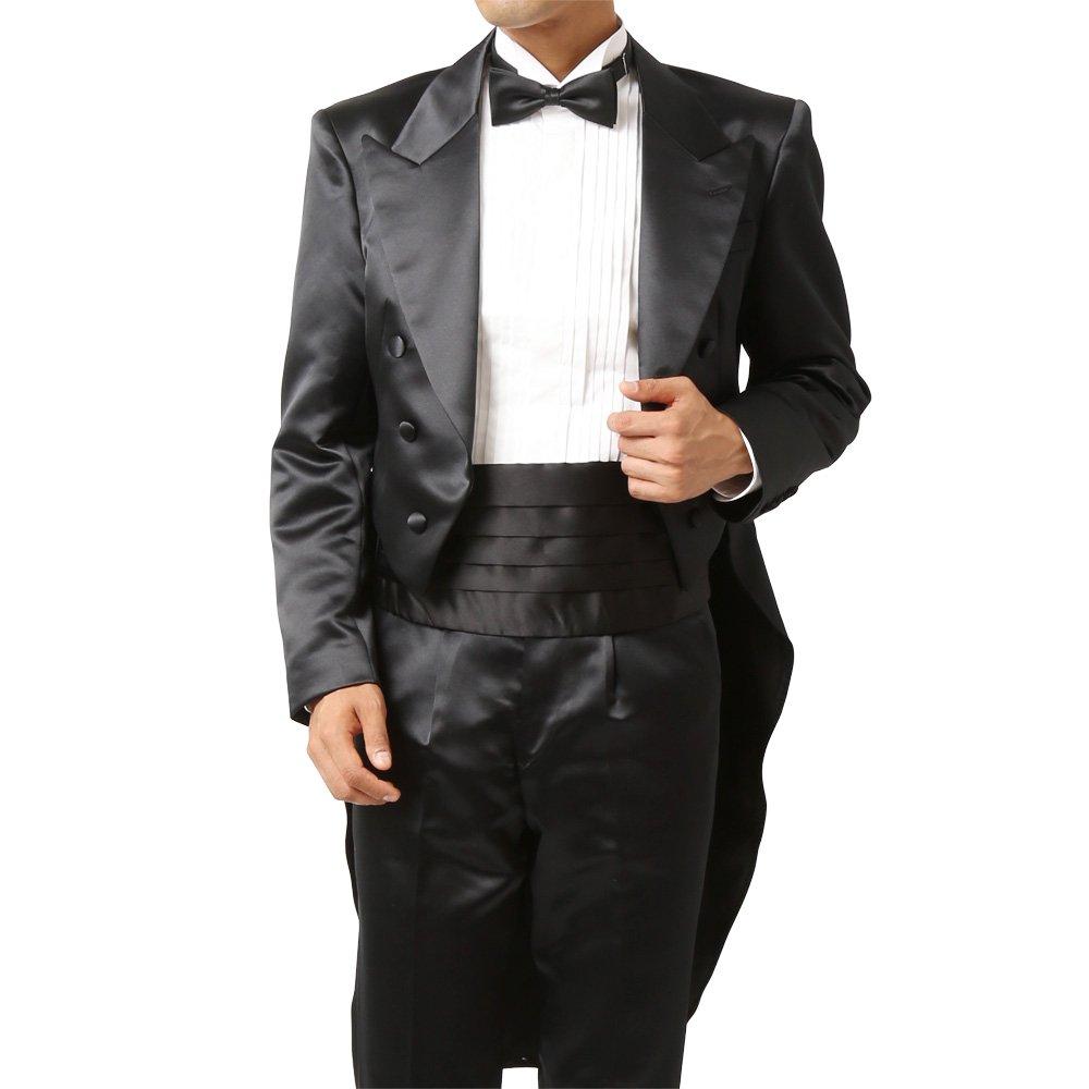 メンズ 燕尾ジャケット ワンタックスラックス 上下セット スーツ :ブラック