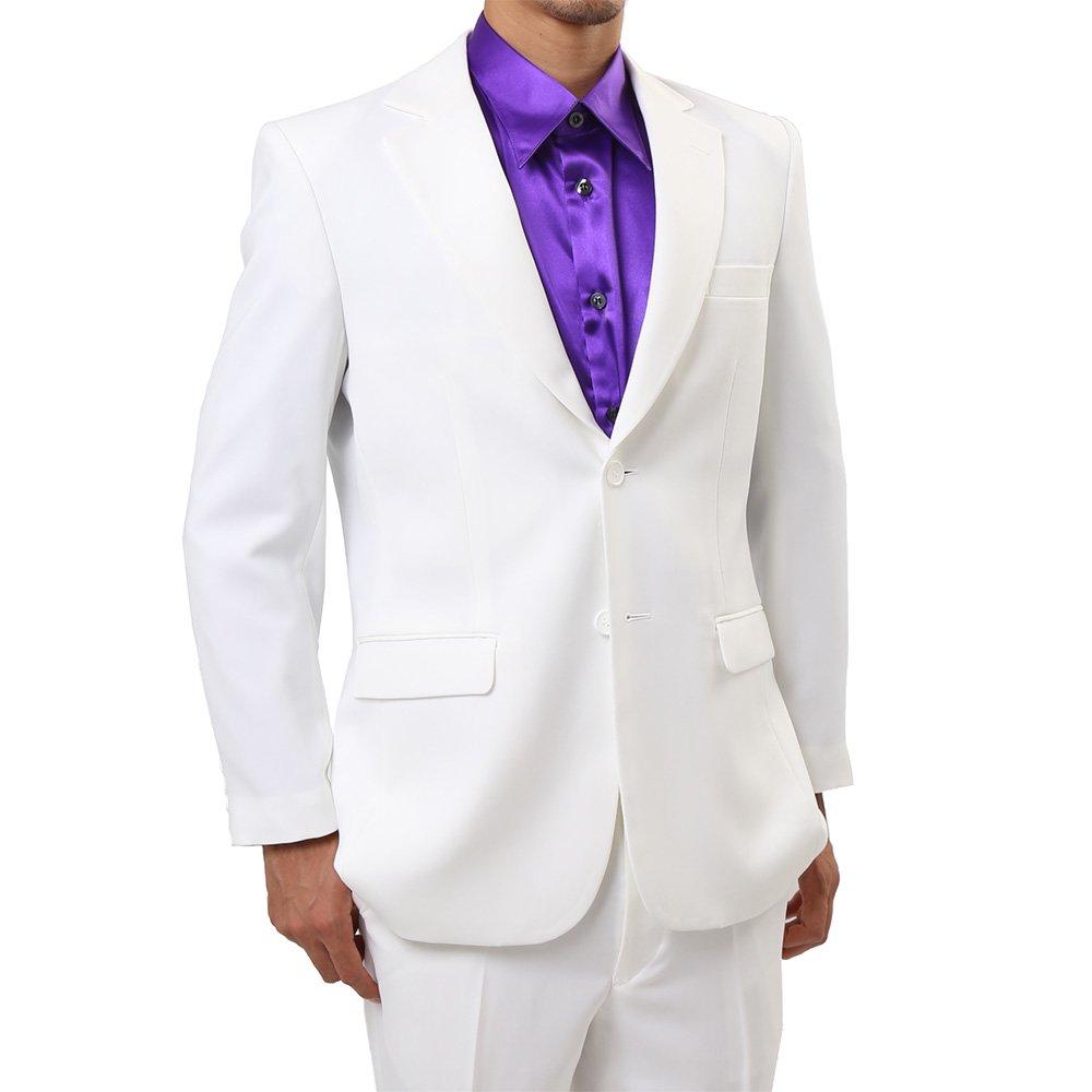 メンズ 2つボタン カラー スーツ 上下セット カラー:ホワイト