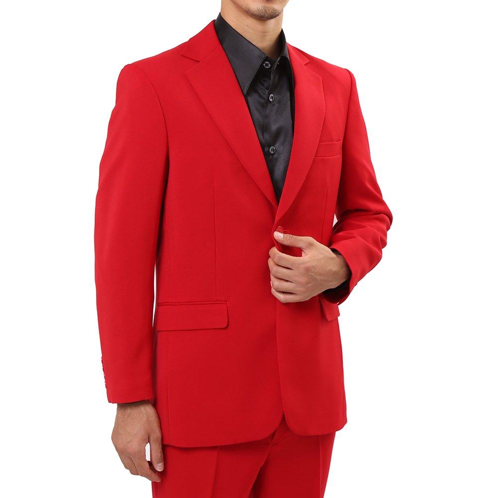 メンズ 2つボタン カラー スーツ 上下セット カラー:レッド