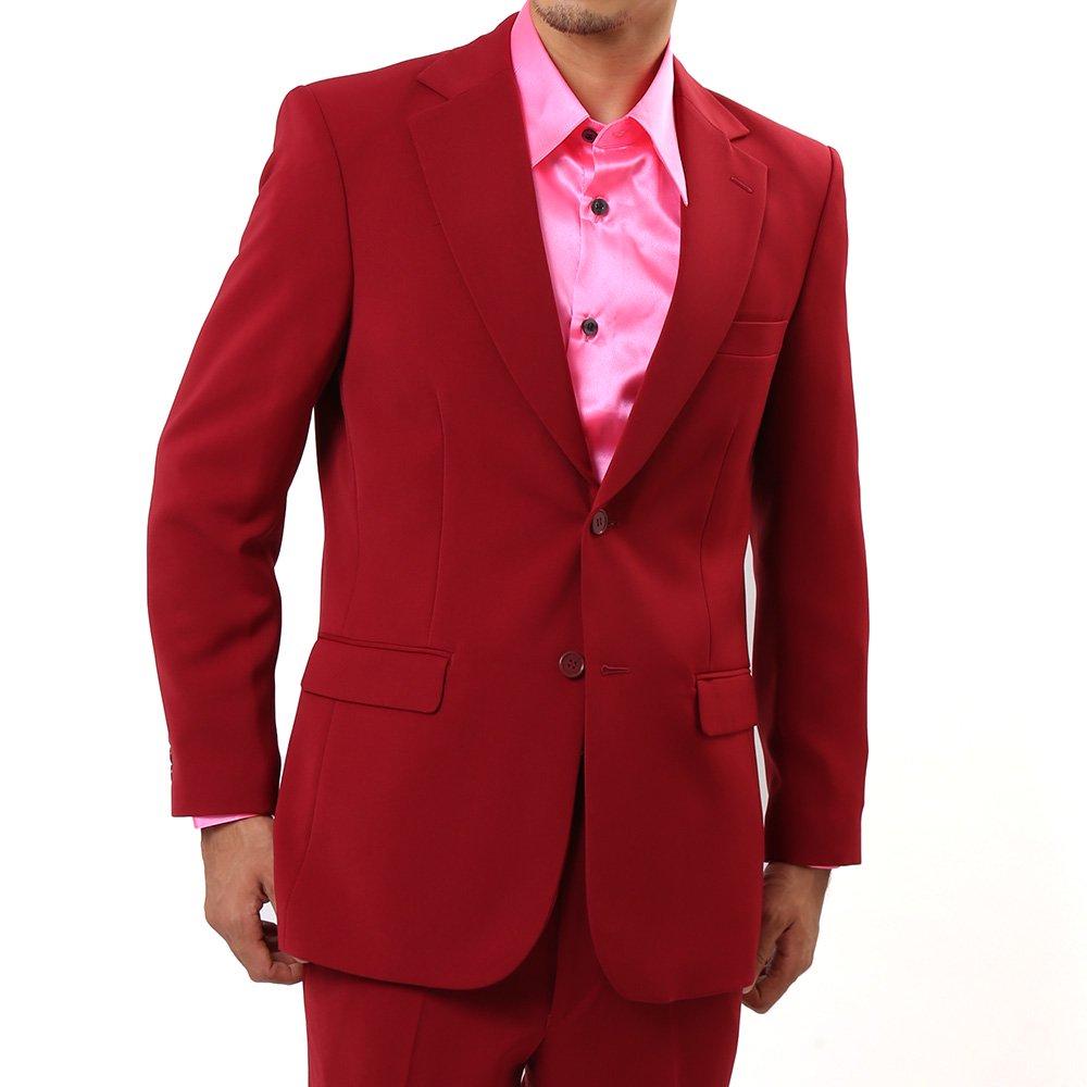 メンズ 2つボタン カラー スーツ 上下セット カラー:ワイン