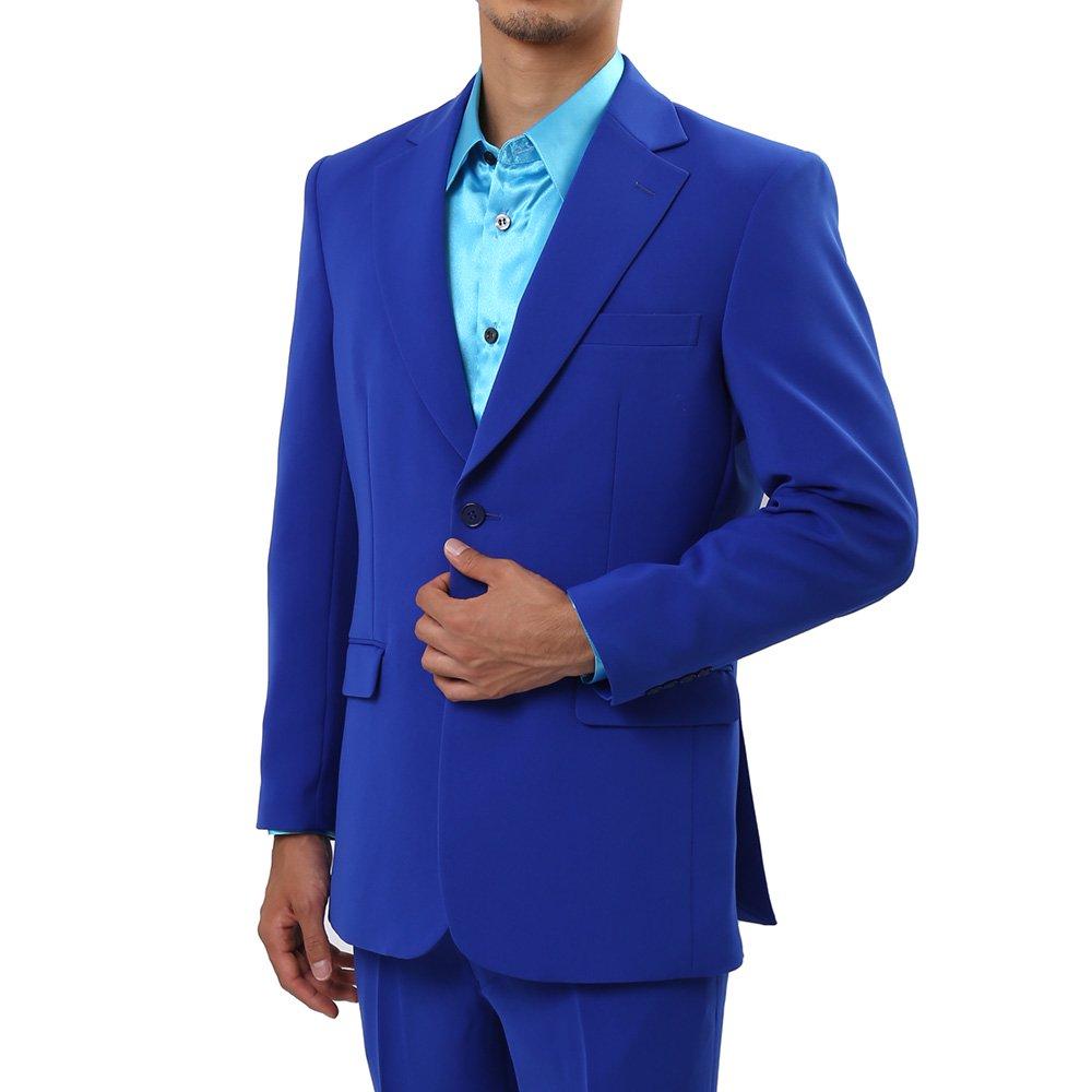 メンズ 2つボタン カラー スーツ 上下セット カラー:ブルー