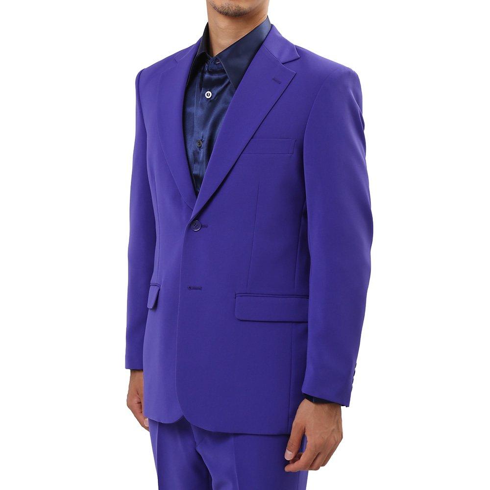 メンズ 2つボタン カラー スーツ 上下セット カラー:パープル