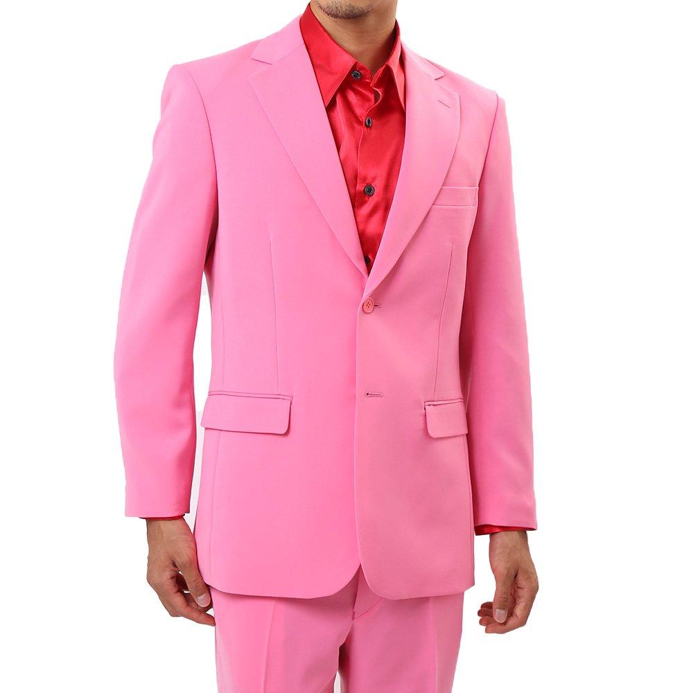 メンズ 2つボタン カラー スーツ 上下セット カラー:ピンク
