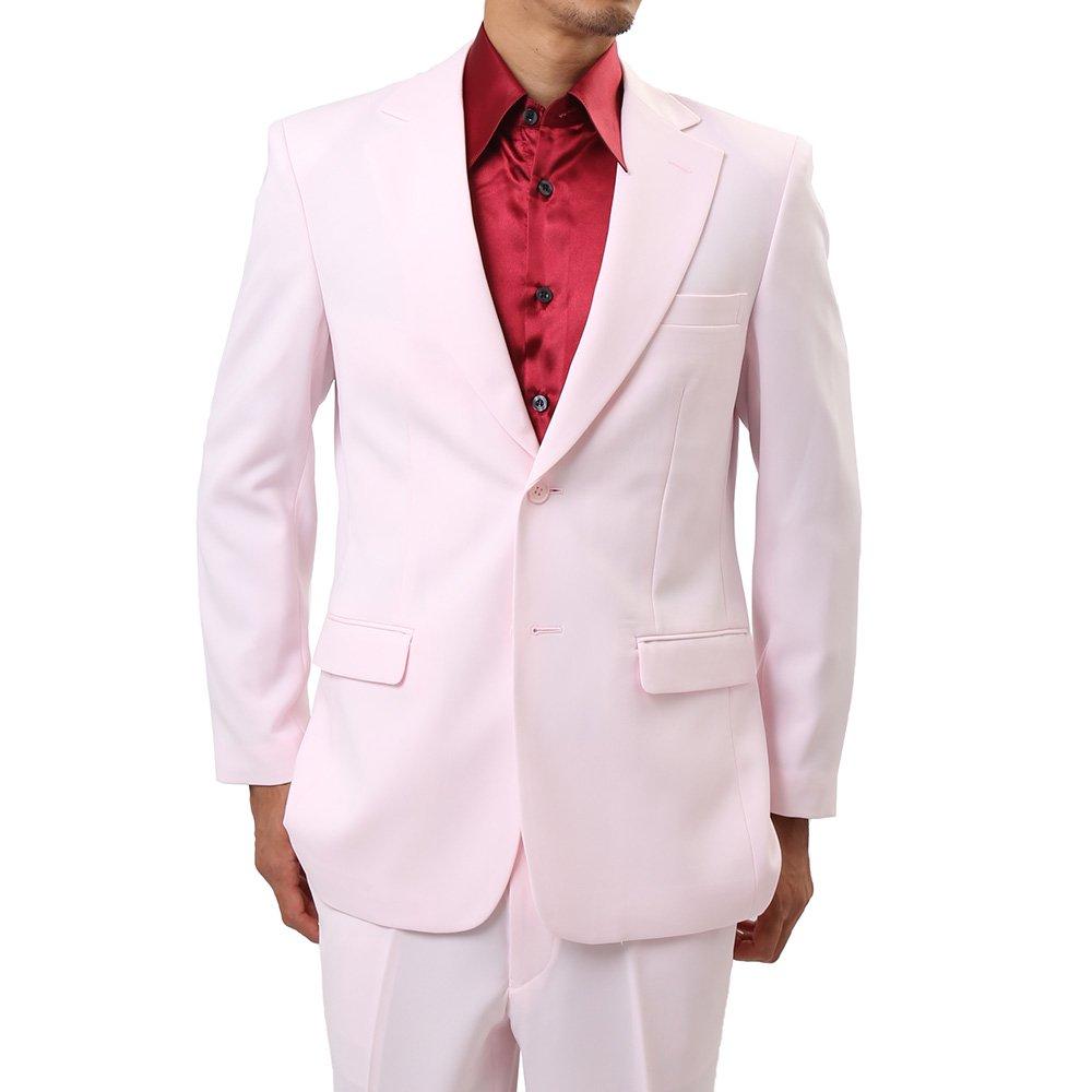 メンズ 2つボタン カラー スーツ 上下セット カラー:ライトピンク