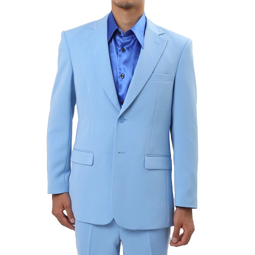 メンズ 2つボタン カラー スーツ 上下セット カラー:サックス