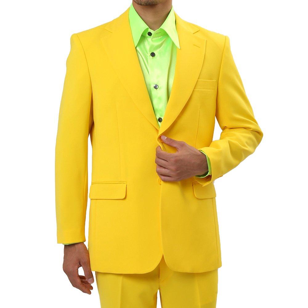 メンズ 2つボタン カラー スーツ 上下セット カラー:イエロー