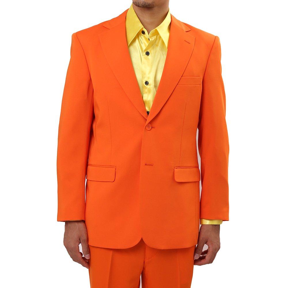 メンズ 2つボタン カラー スーツ 上下セット カラー:オレンジ