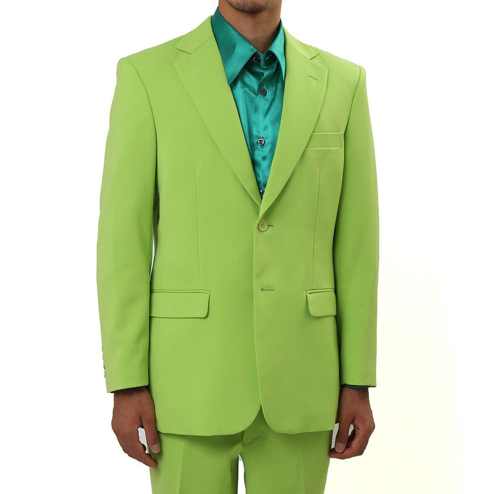 メンズ 2つボタン カラー スーツ 上下セット カラー:イエローグリーン