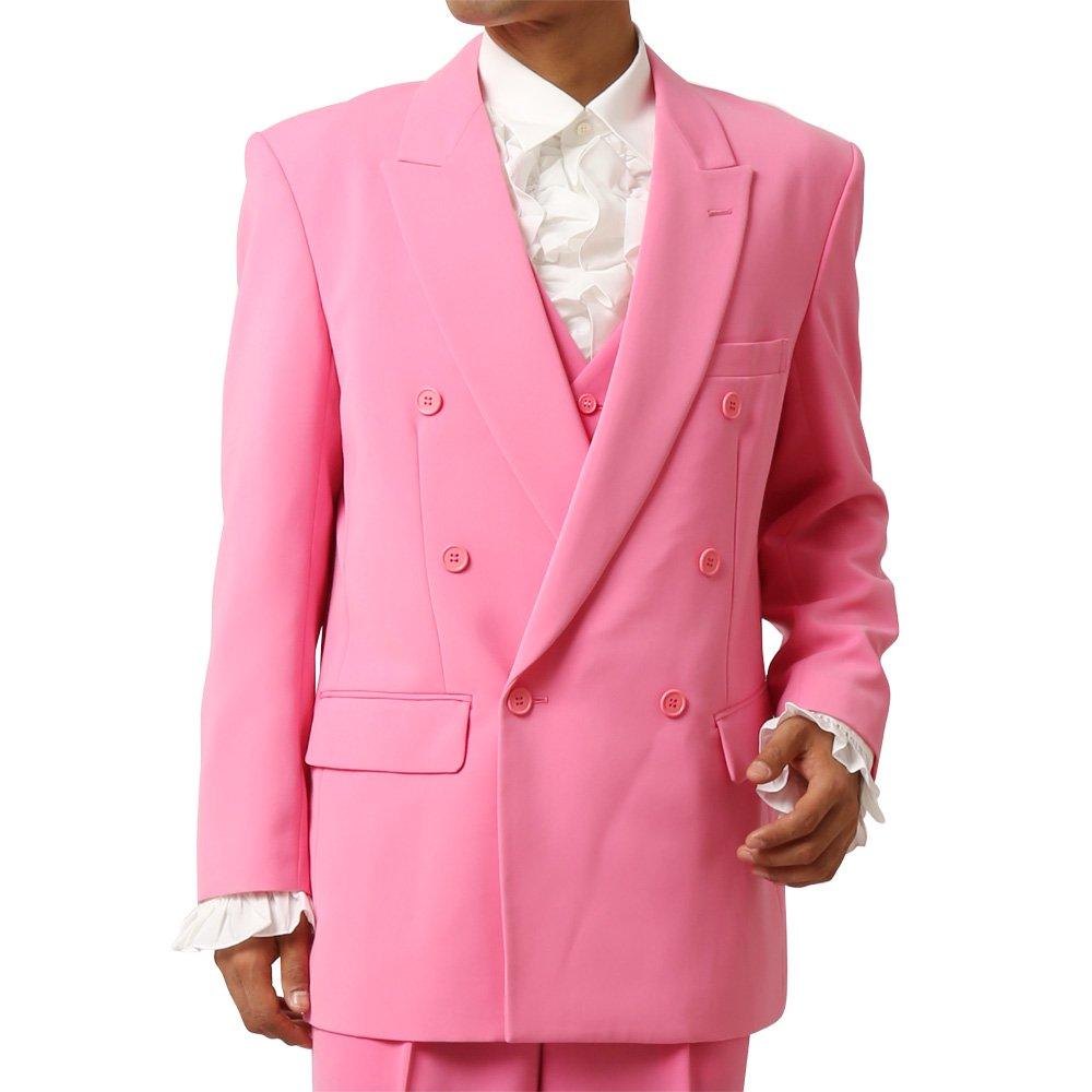 メンズ 6つボタン ダブル カラー スーツ ツータックパンツ 上下セット カラー:ピンク