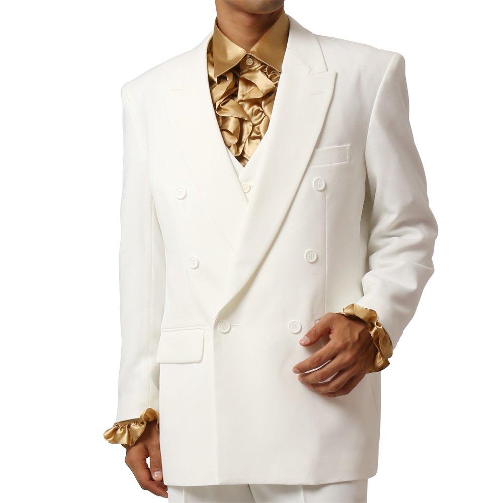 メンズ 6つボタン ダブル カラー スーツ ツータックパンツ 上下セット カラー:ホワイト