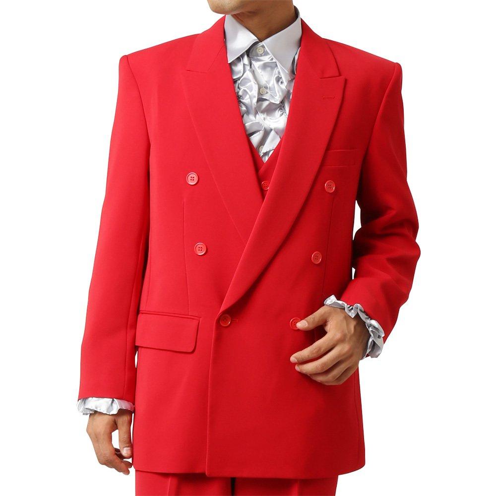 メンズ 6つボタン ダブル カラー スーツ ツータックパンツ 上下セット カラー:レッド