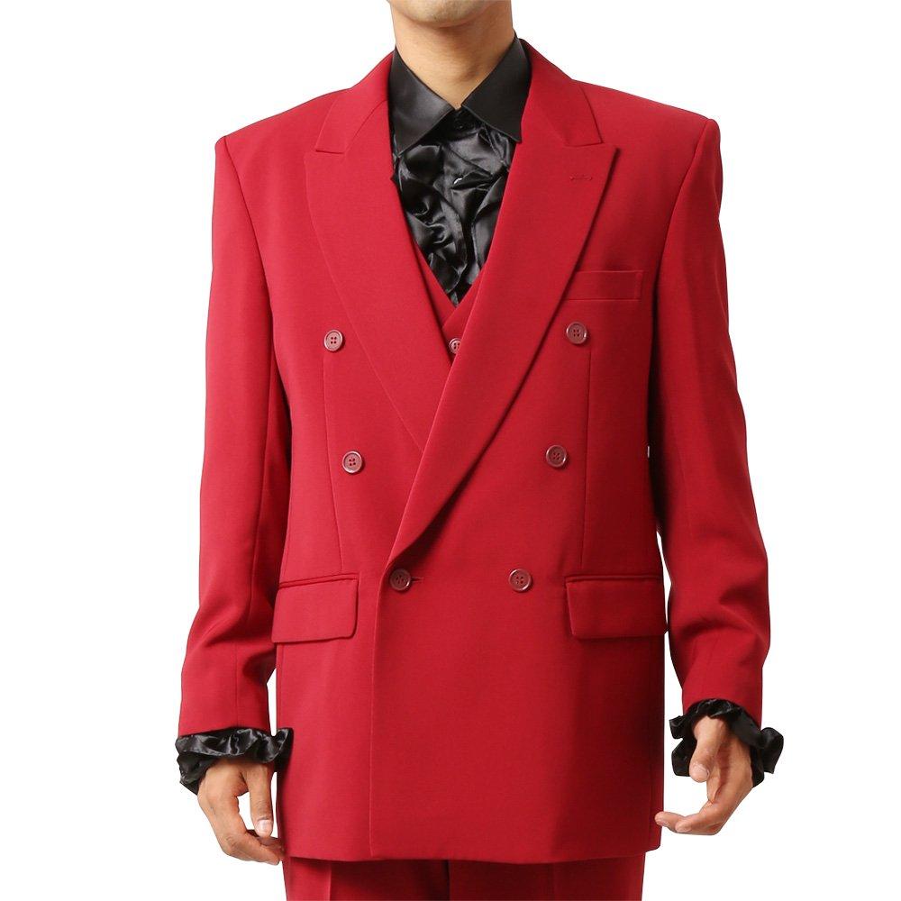 メンズ 6つボタン ダブル カラー スーツ ツータックパンツ 上下セット カラー:ワイン