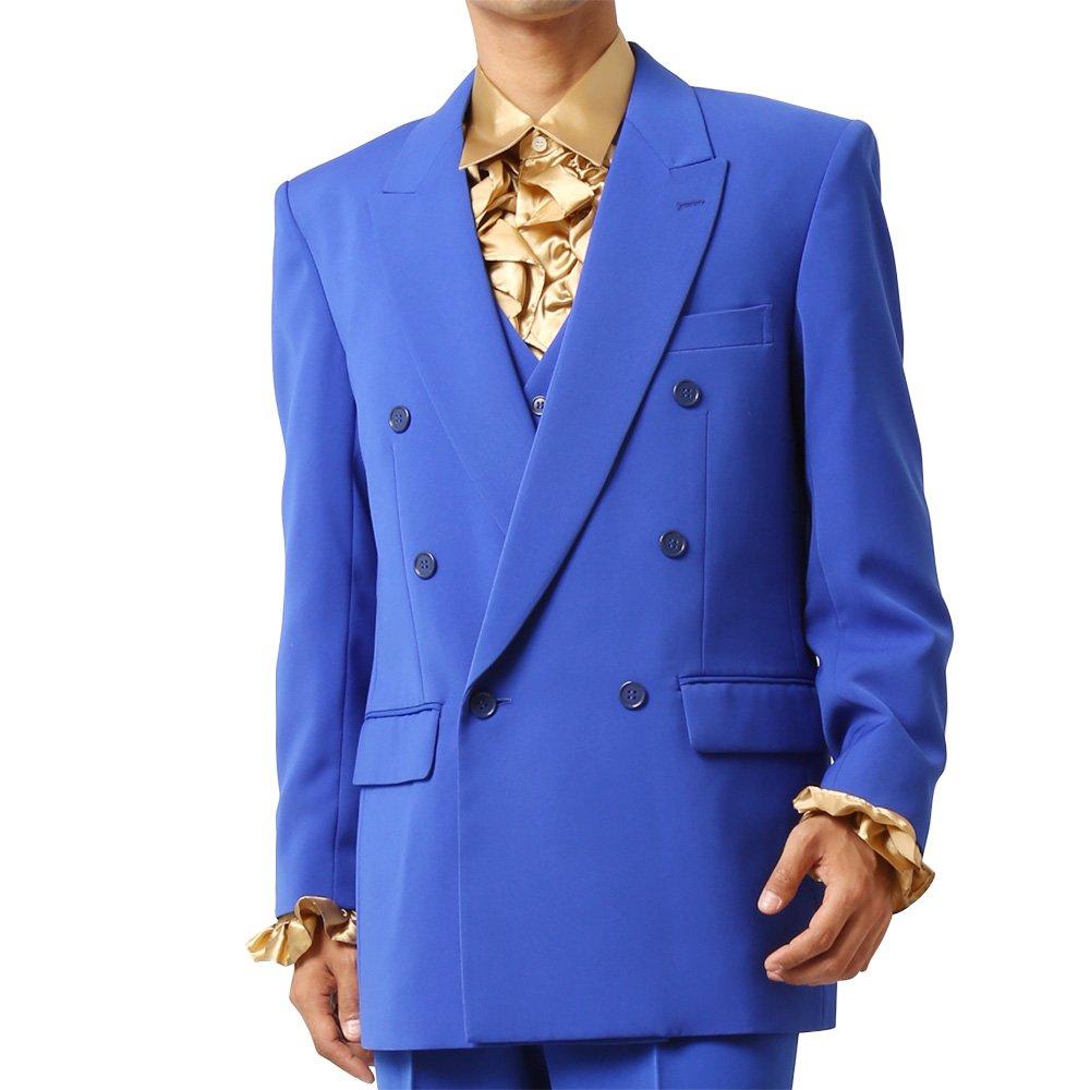 メンズ 6つボタン ダブル カラー スーツ ツータックパンツ 上下セット カラー:ブルー