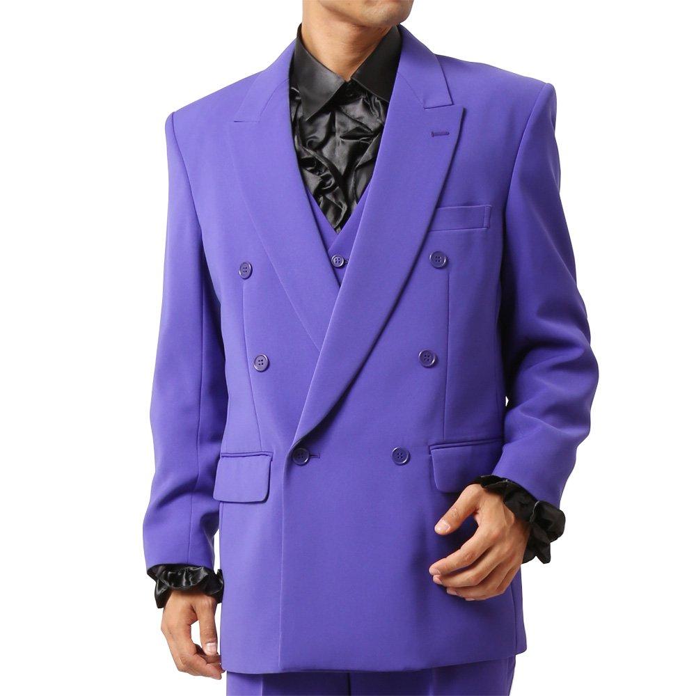 メンズ 6つボタン ダブル カラー スーツ ツータックパンツ 上下セット カラー:パープル